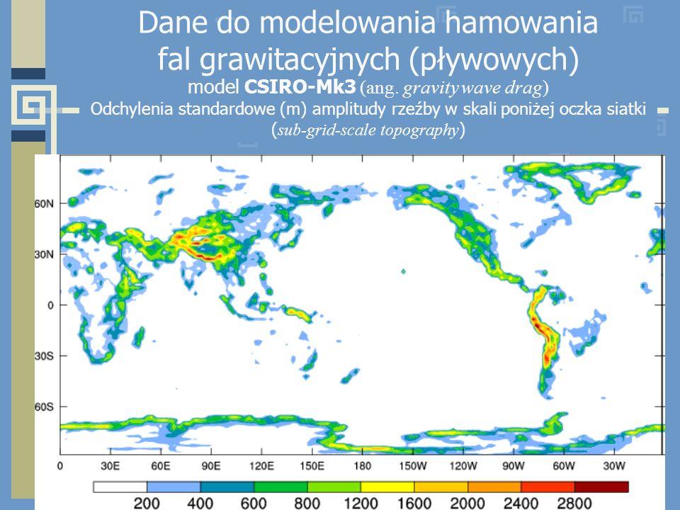 Dane do modelowania hamowania fal grawitacyjnych (pływowych) model CSIRO-Mk3 (ang.