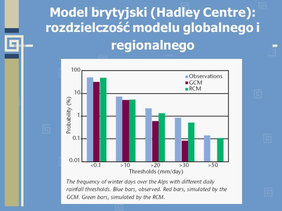 Model brytyjski (Hadley Centre): rozdzielczość modelu globalnego i regionalnego