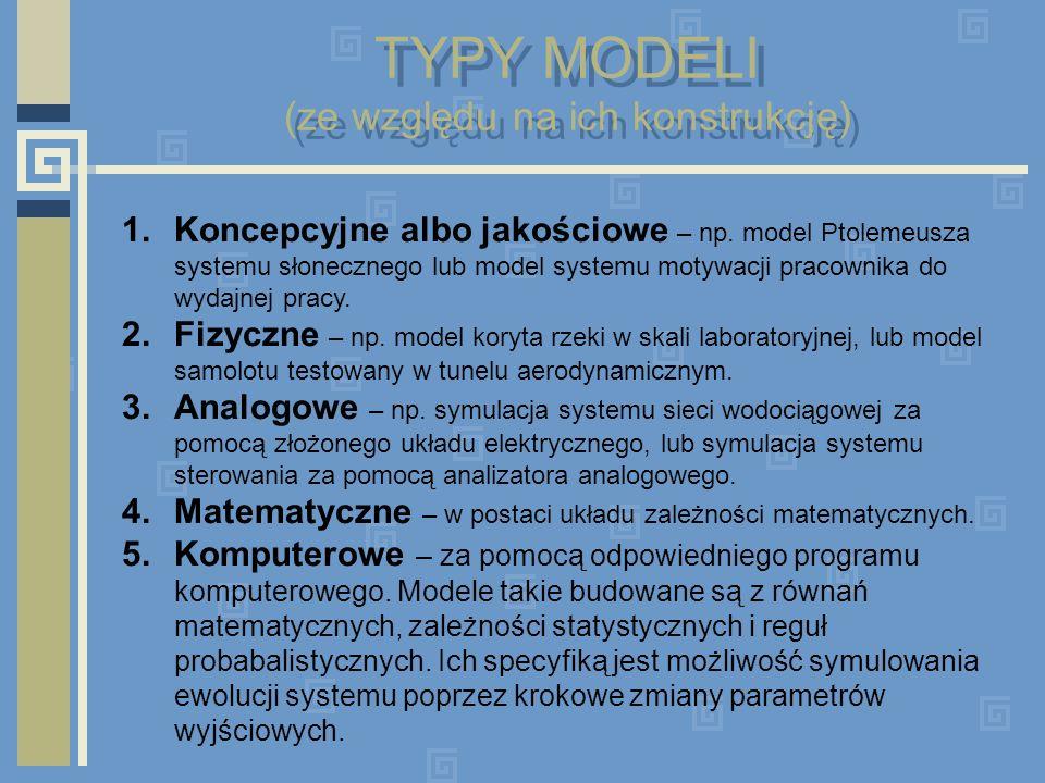 TYPY MODELI (ze względu na ich konstrukcję)