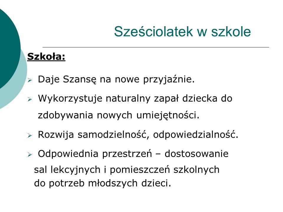 Sześciolatek w szkole Szkoła: Daje Szansę na nowe przyjaźnie.