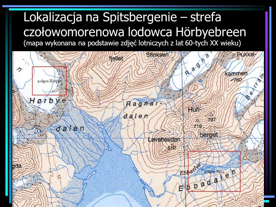 Lokalizacja na Spitsbergenie – strefa czołowomorenowa lodowca Hörbyebreen (mapa wykonana na podstawie zdjęć lotniczych z lat 60-tych XX wieku)