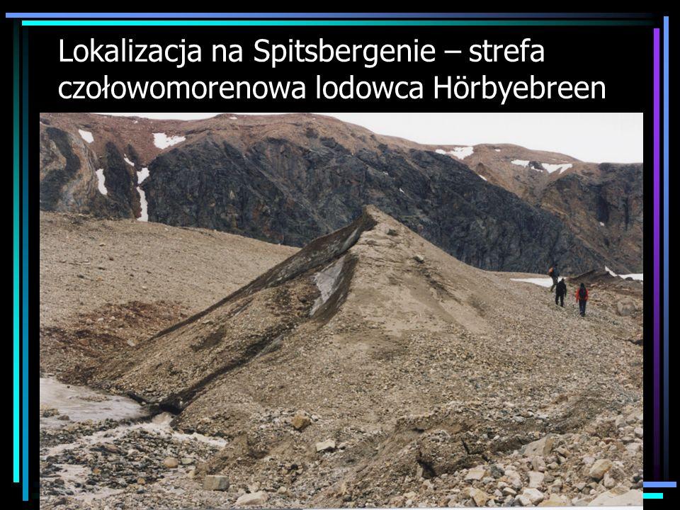Lokalizacja na Spitsbergenie – strefa czołowomorenowa lodowca Hörbyebreen