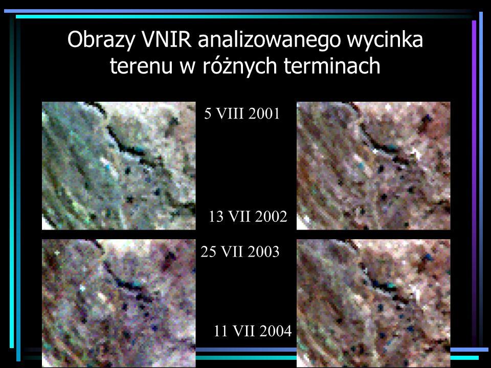 Obrazy VNIR analizowanego wycinka terenu w różnych terminach