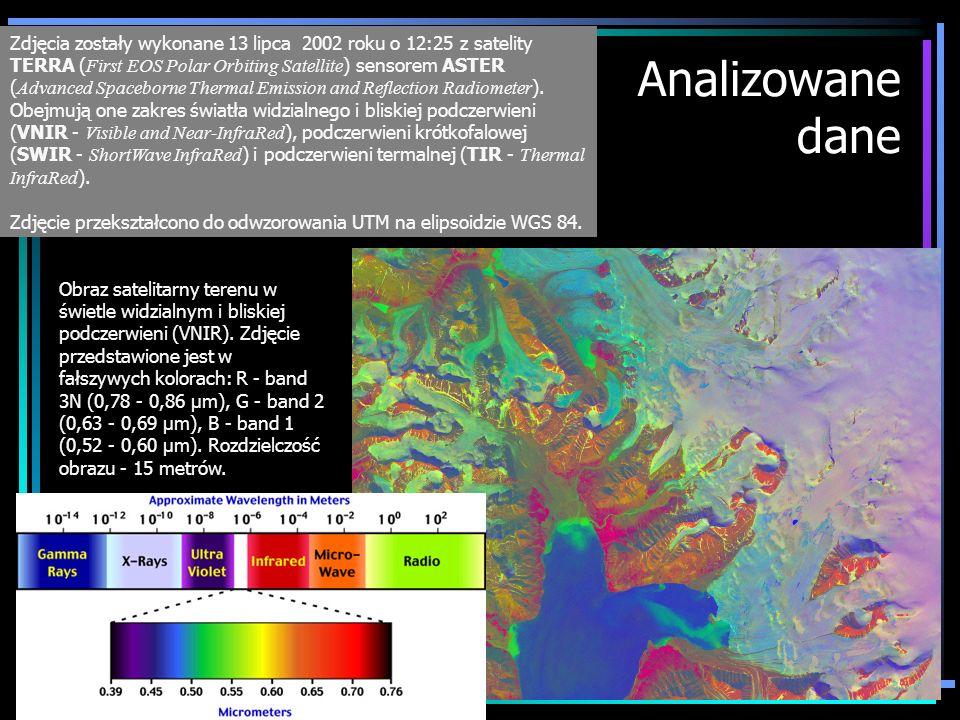 Zdjęcia zostały wykonane 13 lipca 2002 roku o 12:25 z satelity TERRA (First EOS Polar Orbiting Satellite) sensorem ASTER (Advanced Spaceborne Thermal Emission and Reflection Radiometer). Obejmują one zakres światła widzialnego i bliskiej podczerwieni (VNIR - Visible and Near-InfraRed), podczerwieni krótkofalowej (SWIR - ShortWave InfraRed) i podczerwieni termalnej (TIR - Thermal InfraRed).