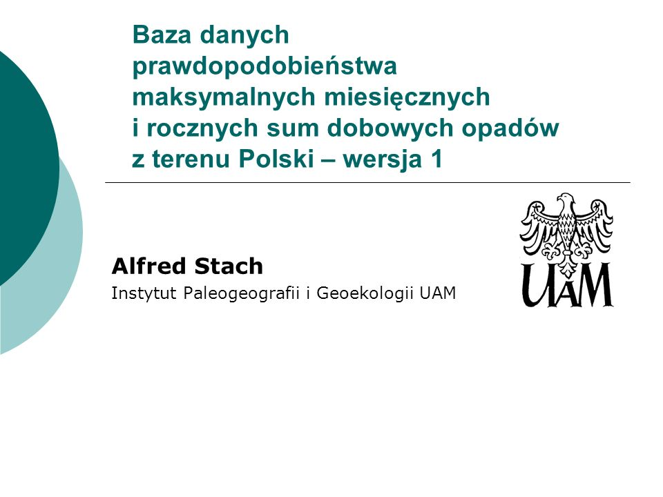 Alfred Stach Instytut Paleogeografii i Geoekologii UAM