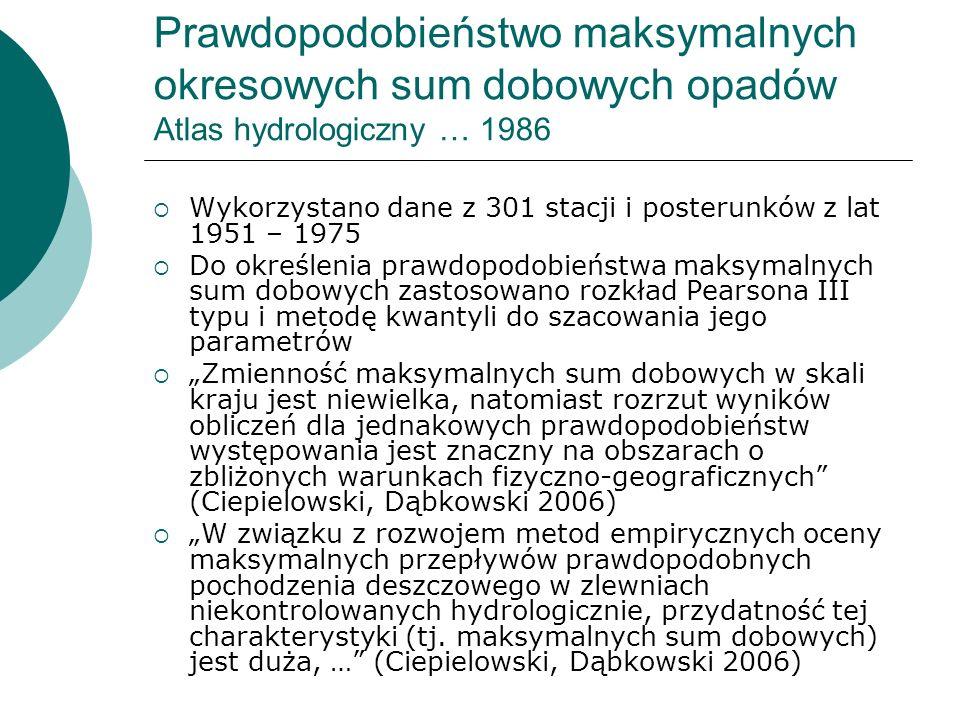 Prawdopodobieństwo maksymalnych okresowych sum dobowych opadów Atlas hydrologiczny … 1986