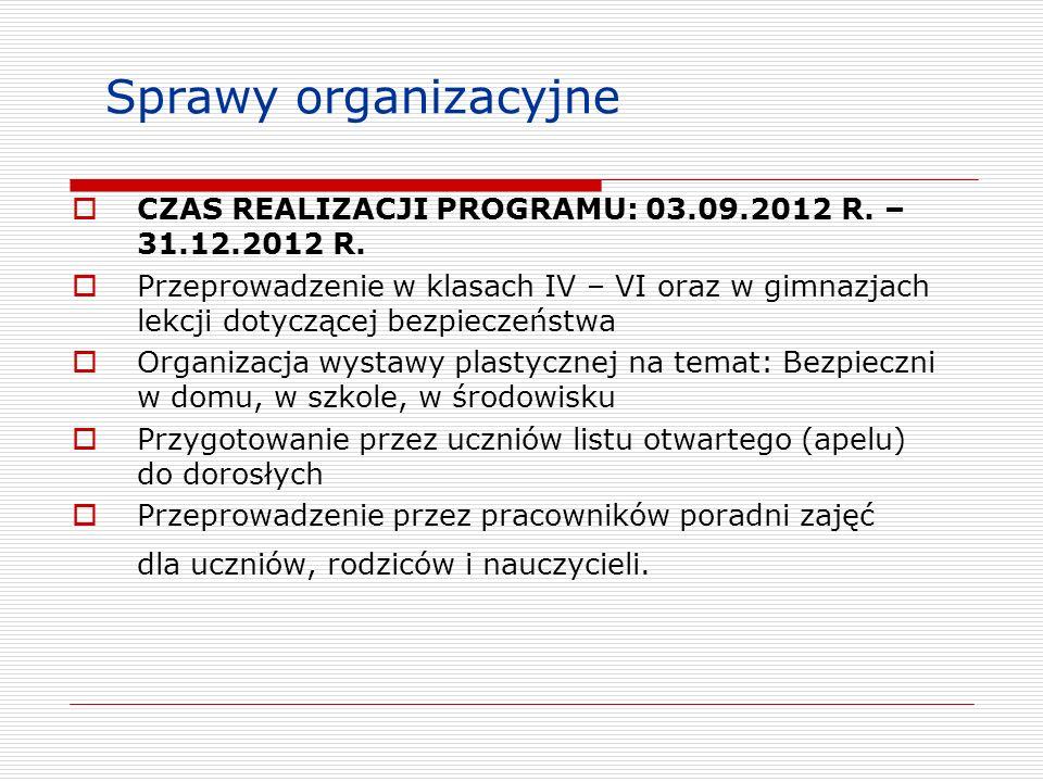 Sprawy organizacyjne CZAS REALIZACJI PROGRAMU: 03.09.2012 R. – 31.12.2012 R.