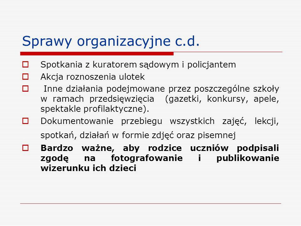Sprawy organizacyjne c.d.