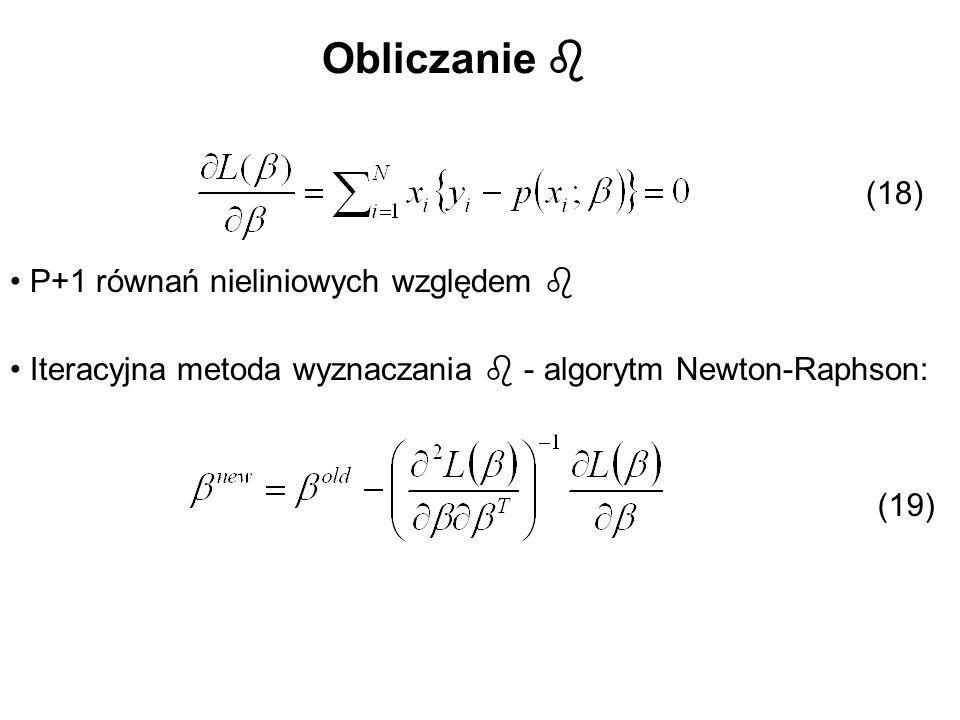 Obliczanie  (18) P+1 równań nieliniowych względem 