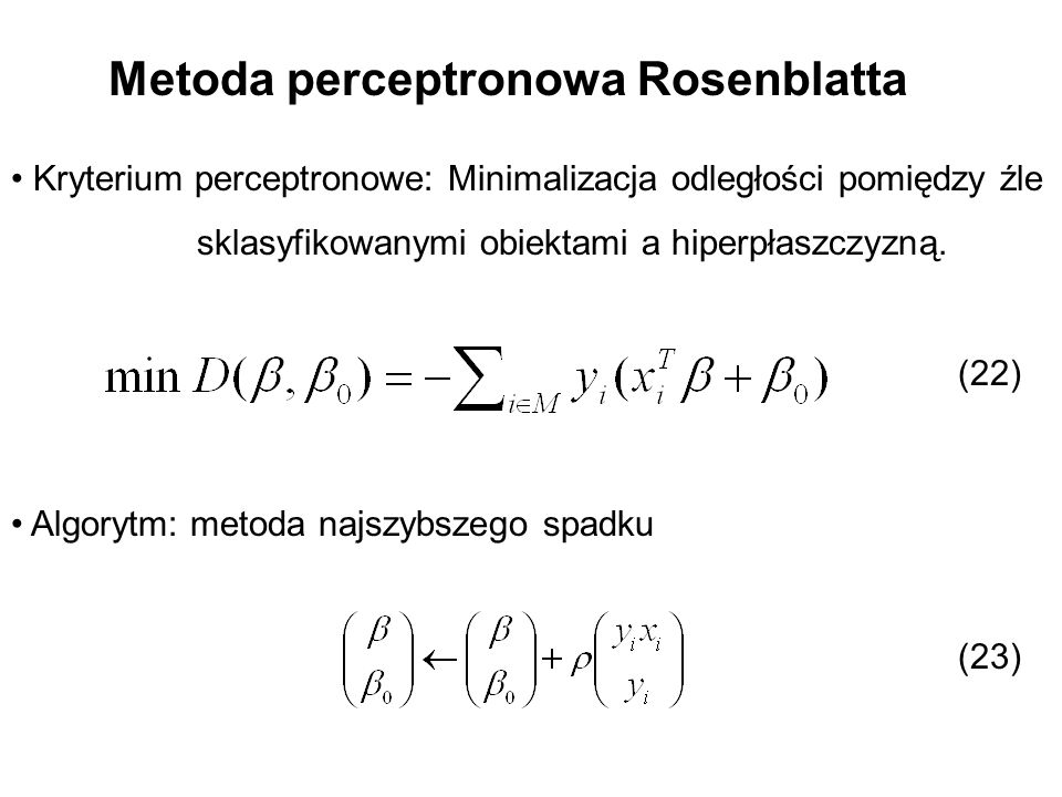 Metoda perceptronowa Rosenblatta