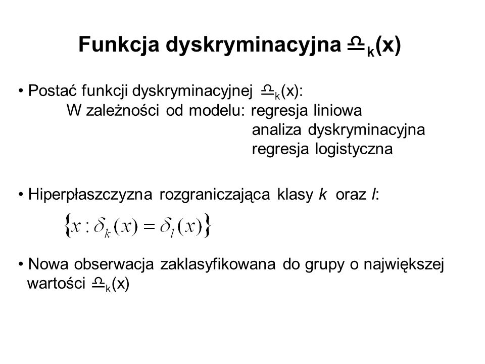 Funkcja dyskryminacyjna k(x)