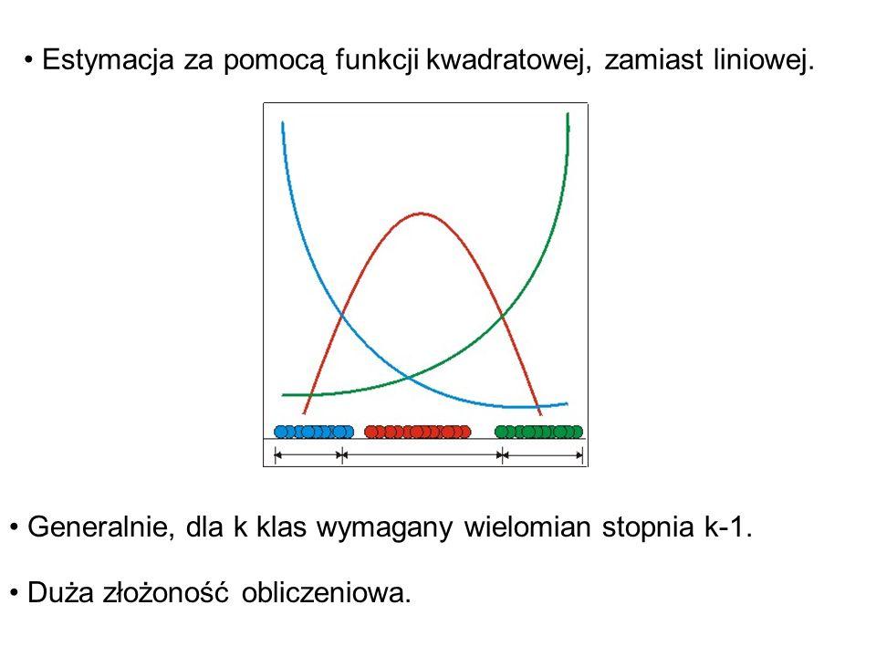Estymacja za pomocą funkcji kwadratowej, zamiast liniowej.