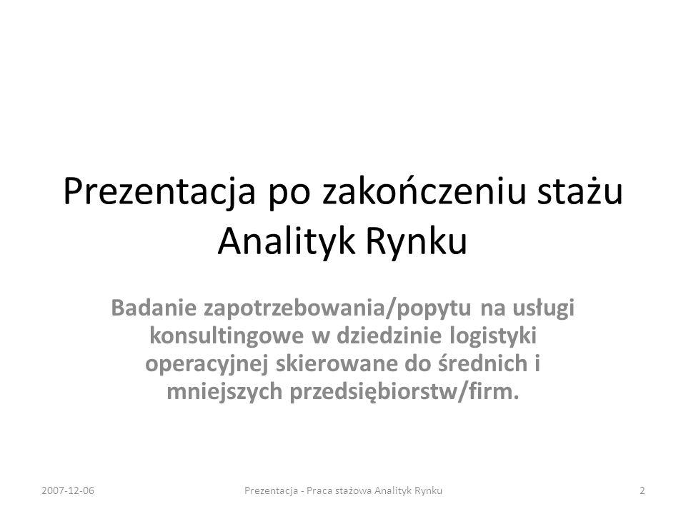 Prezentacja po zakończeniu stażu Analityk Rynku
