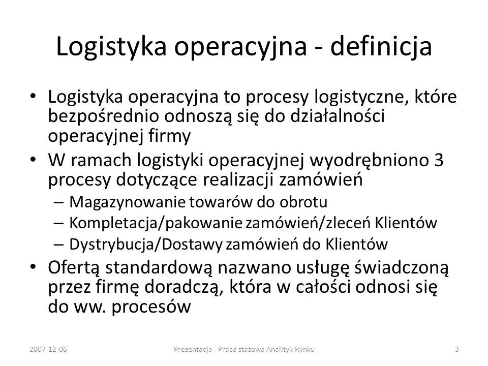 Logistyka operacyjna - definicja
