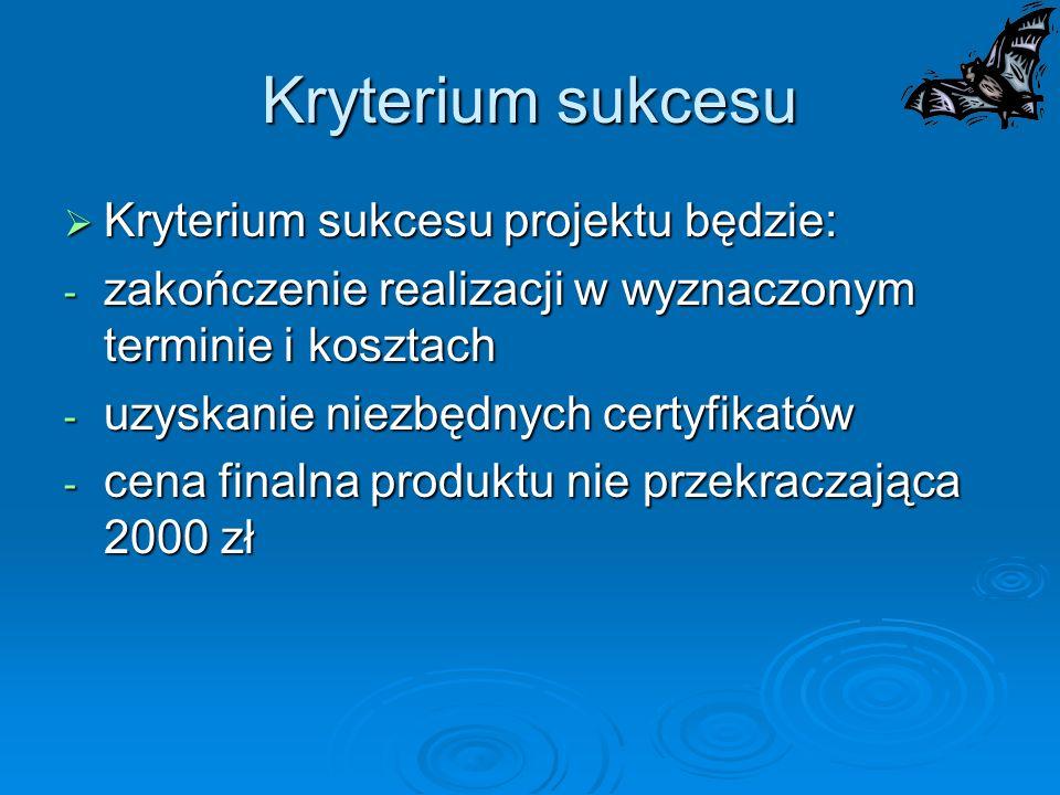 Kryterium sukcesu Kryterium sukcesu projektu będzie: