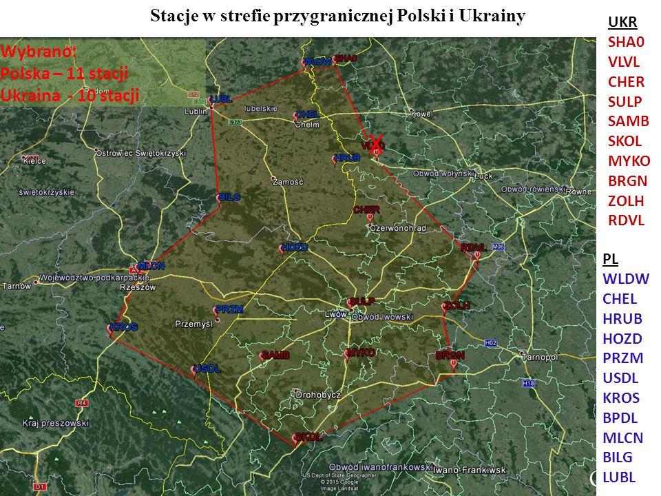 Stacje w strefie przygranicznej Polski i Ukrainy