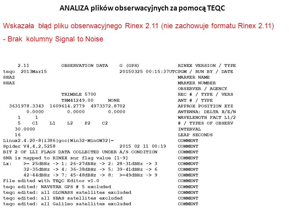 ANALIZA plików obserwacyjnych za pomocą TEQC