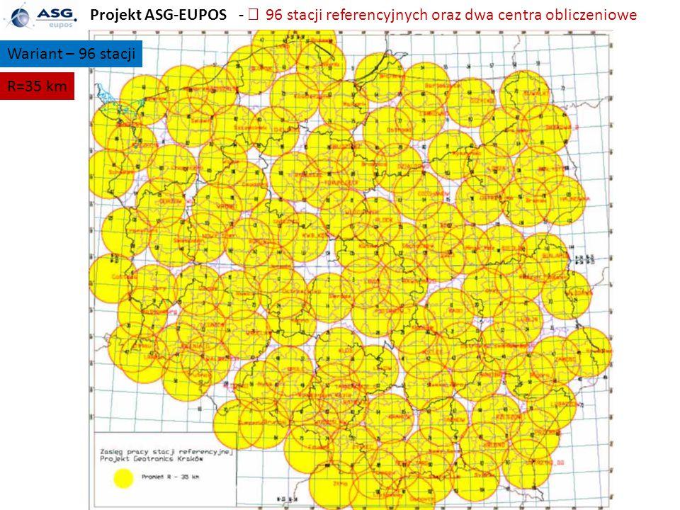 Projekt ASG-EUPOS -  96 stacji referencyjnych oraz dwa centra obliczeniowe