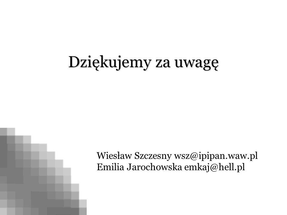 Dziękujemy za uwagę Wiesław Szczesny wsz@ipipan.waw.pl