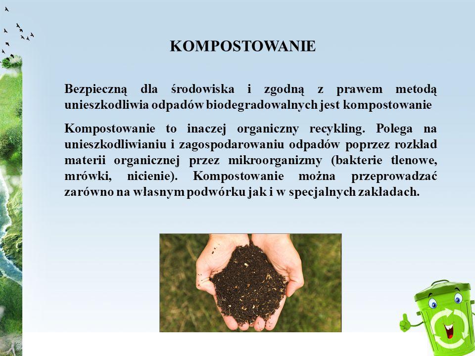 KOMPOSTOWANIEBezpieczną dla środowiska i zgodną z prawem metodą unieszkodliwia odpadów biodegradowalnych jest kompostowanie.