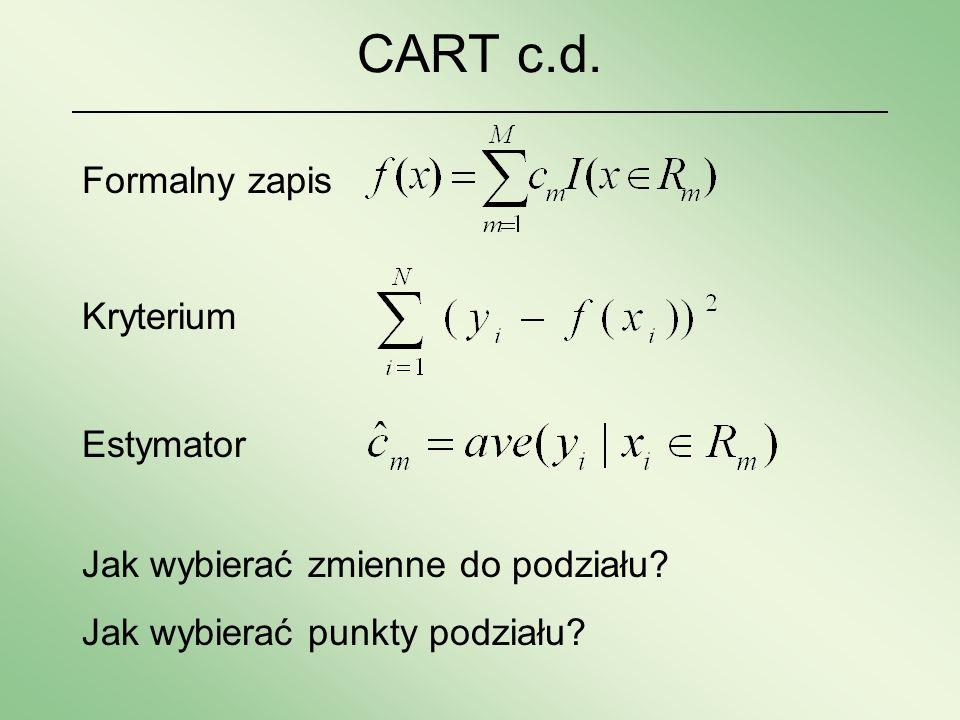 CART c.d. Formalny zapis Kryterium Estymator