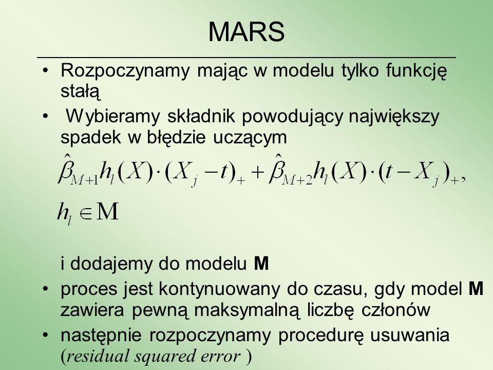 MARS Rozpoczynamy mając w modelu tylko funkcję stałą
