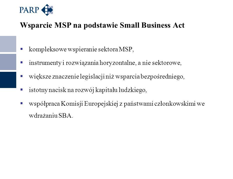 Wsparcie MSP na podstawie Small Business Act