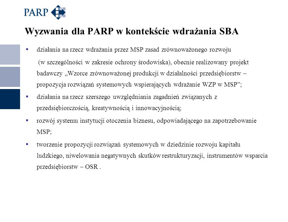 Wyzwania dla PARP w kontekście wdrażania SBA