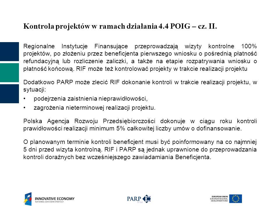 Kontrola projektów w ramach działania 4.4 POIG – cz. II.