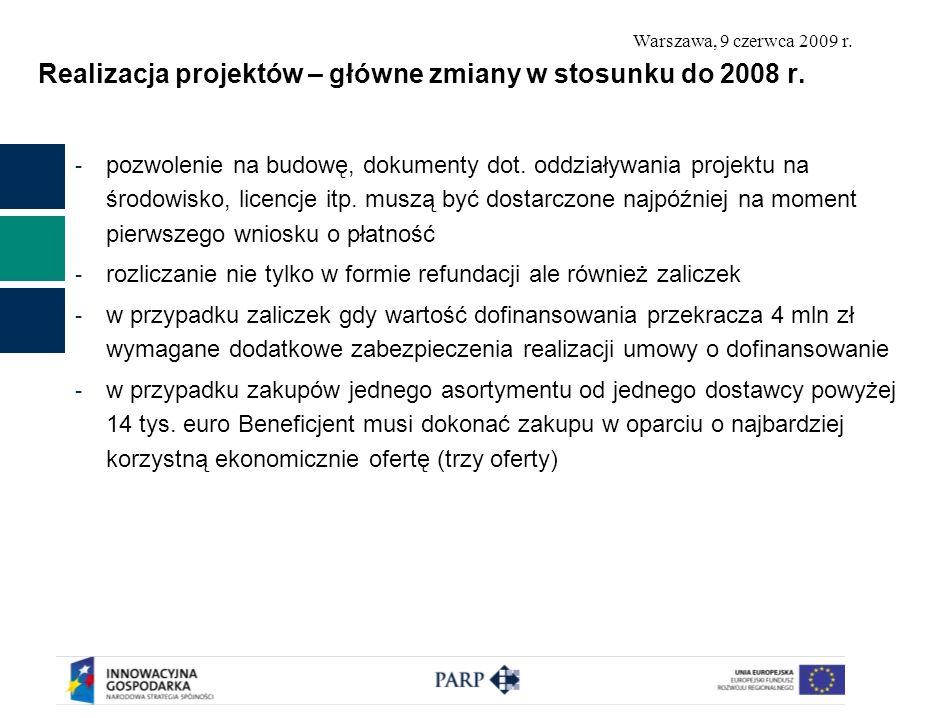 Realizacja projektów – główne zmiany w stosunku do 2008 r.