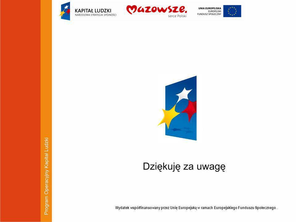 Wydatek współfinansowany przez Unię Europejską w ramach Europejskiego Funduszu Społecznego .