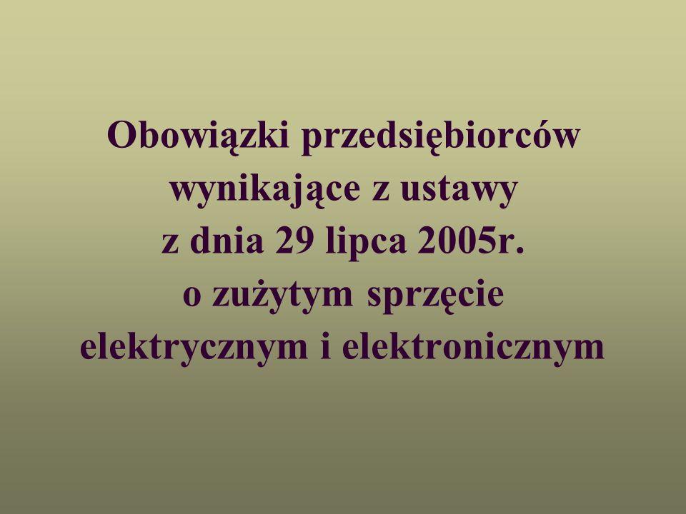 Obowiązki przedsiębiorców wynikające z ustawy z dnia 29 lipca 2005r