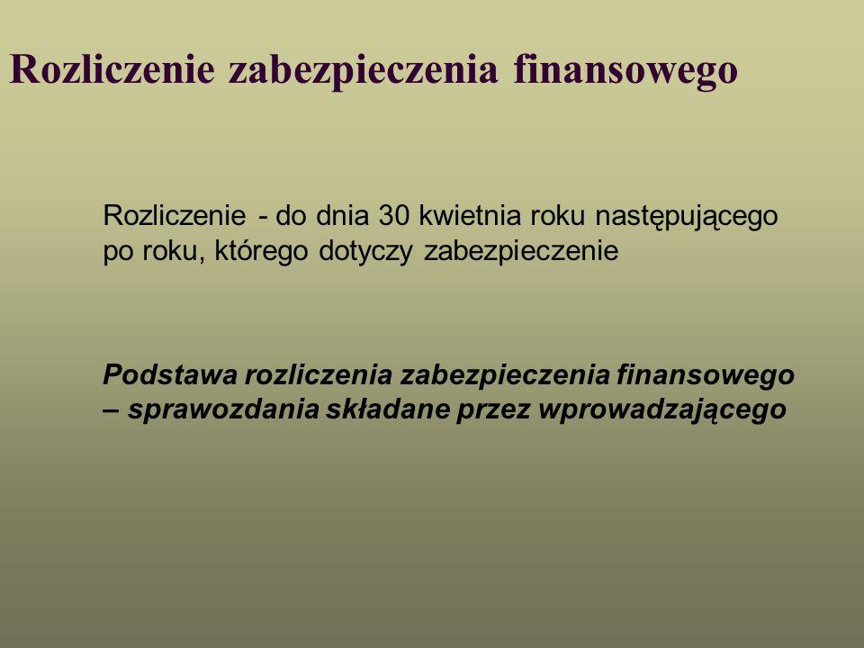 Rozliczenie zabezpieczenia finansowego