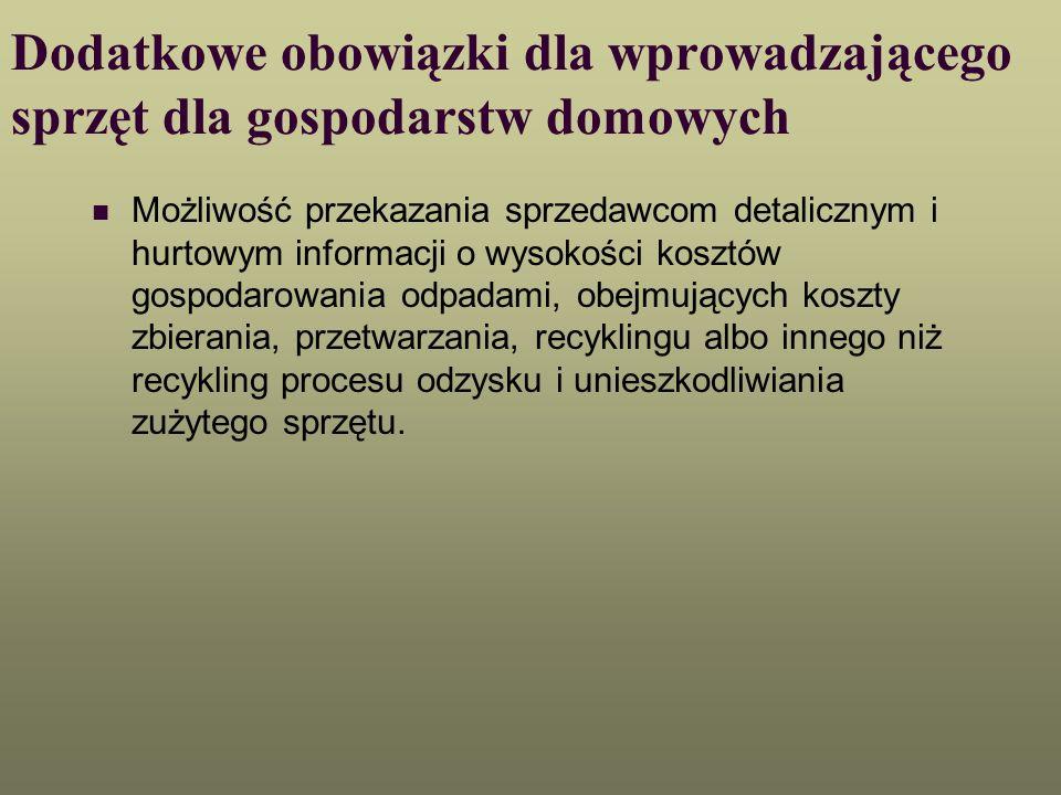 Dodatkowe obowiązki dla wprowadzającego sprzęt dla gospodarstw domowych