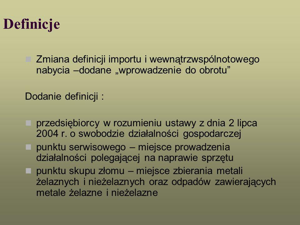 """DefinicjeZmiana definicji importu i wewnątrzwspólnotowego nabycia –dodane """"wprowadzenie do obrotu Dodanie definicji :"""