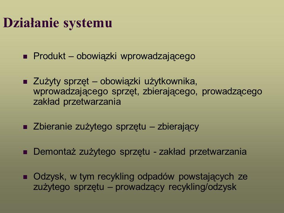 Działanie systemu Produkt – obowiązki wprowadzającego