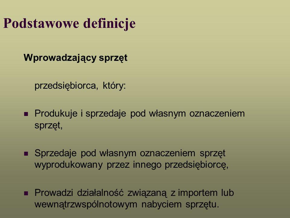 Podstawowe definicje Wprowadzający sprzęt przedsiębiorca, który: