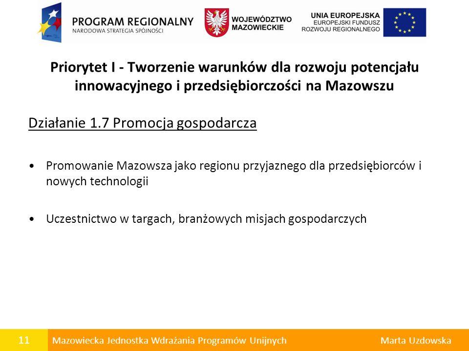 Działanie 1.7 Promocja gospodarcza