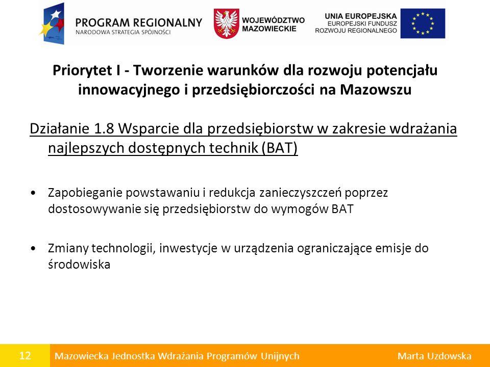 Priorytet I - Tworzenie warunków dla rozwoju potencjału innowacyjnego i przedsiębiorczości na Mazowszu