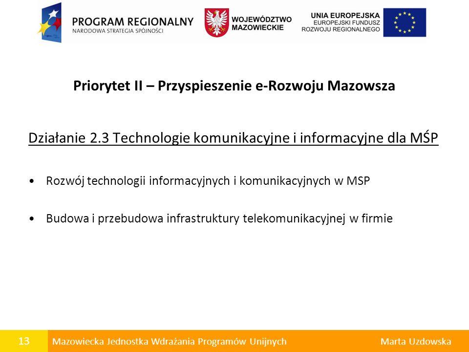 Priorytet II – Przyspieszenie e-Rozwoju Mazowsza