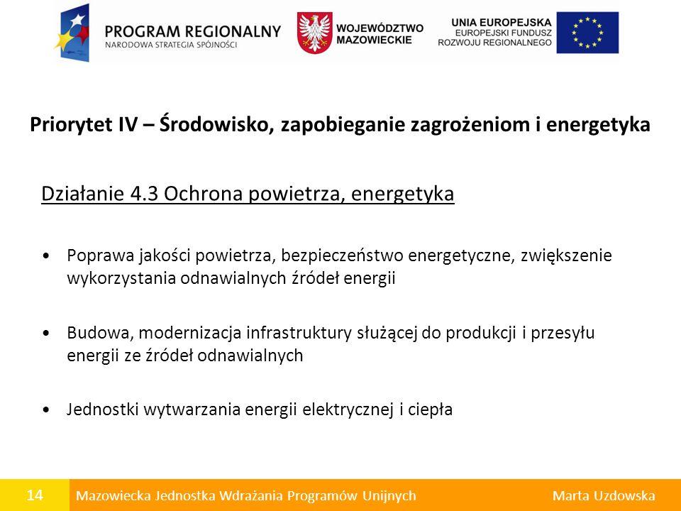 Priorytet IV – Środowisko, zapobieganie zagrożeniom i energetyka