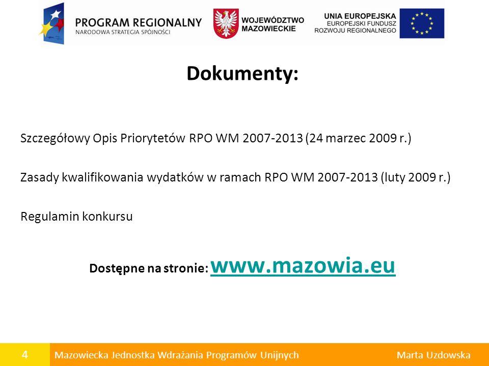 Dostępne na stronie: www.mazowia.eu
