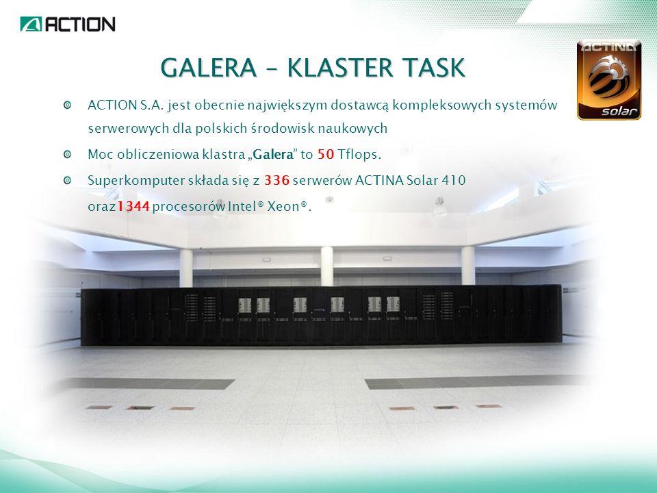 GALERA – KLASTER TASK ACTION S.A. jest obecnie największym dostawcą kompleksowych systemów serwerowych dla polskich środowisk naukowych.