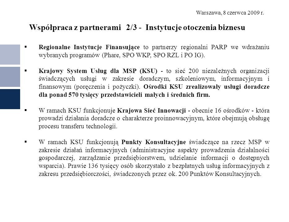 Współpraca z partnerami 2/3 - Instytucje otoczenia biznesu