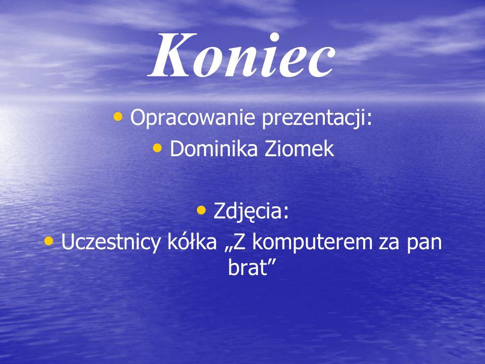 Koniec Opracowanie prezentacji: Dominika Ziomek Zdjęcia: