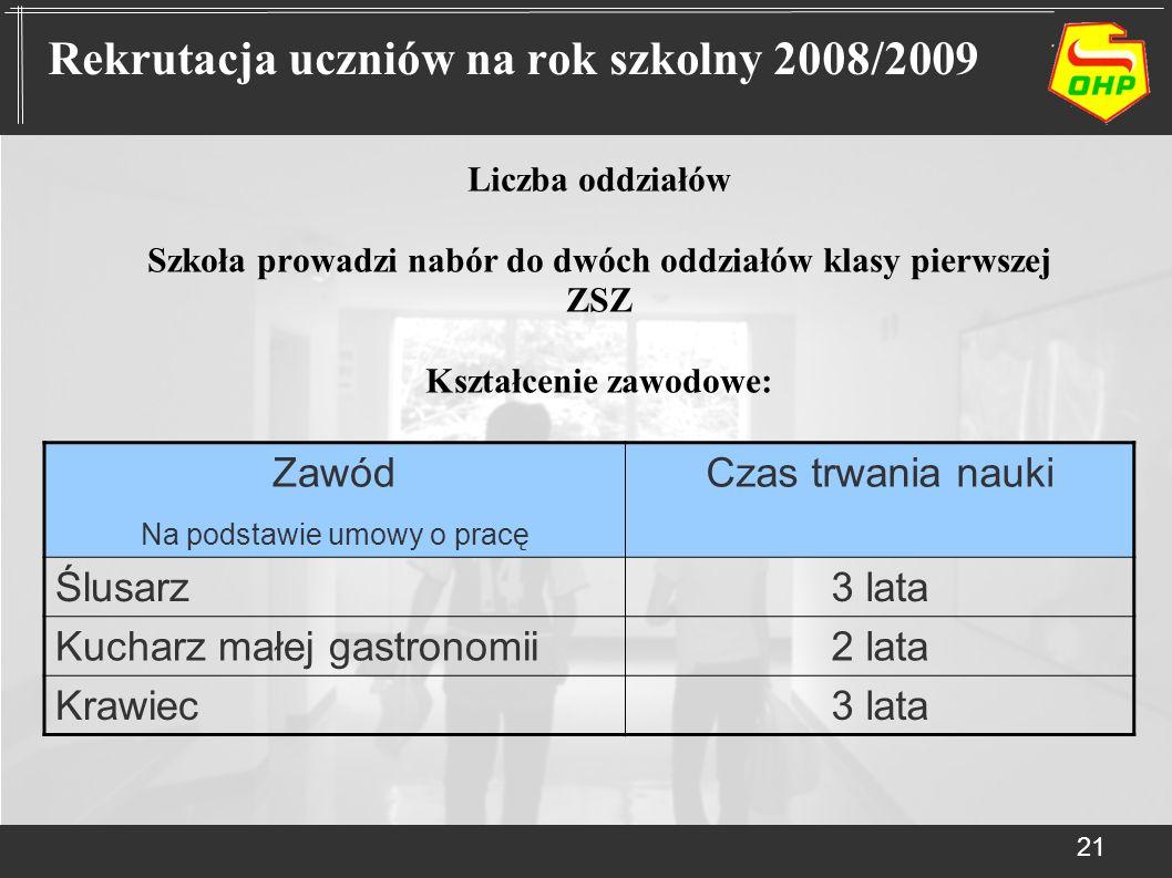 Rekrutacja uczniów na rok szkolny 2008/2009