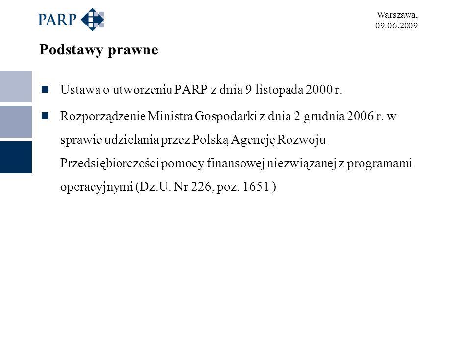 Podstawy prawne Ustawa o utworzeniu PARP z dnia 9 listopada 2000 r.