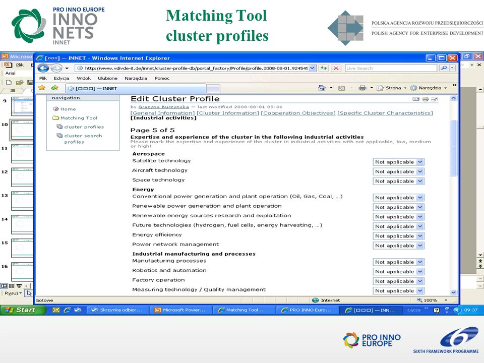 Matching Tool cluster profiles