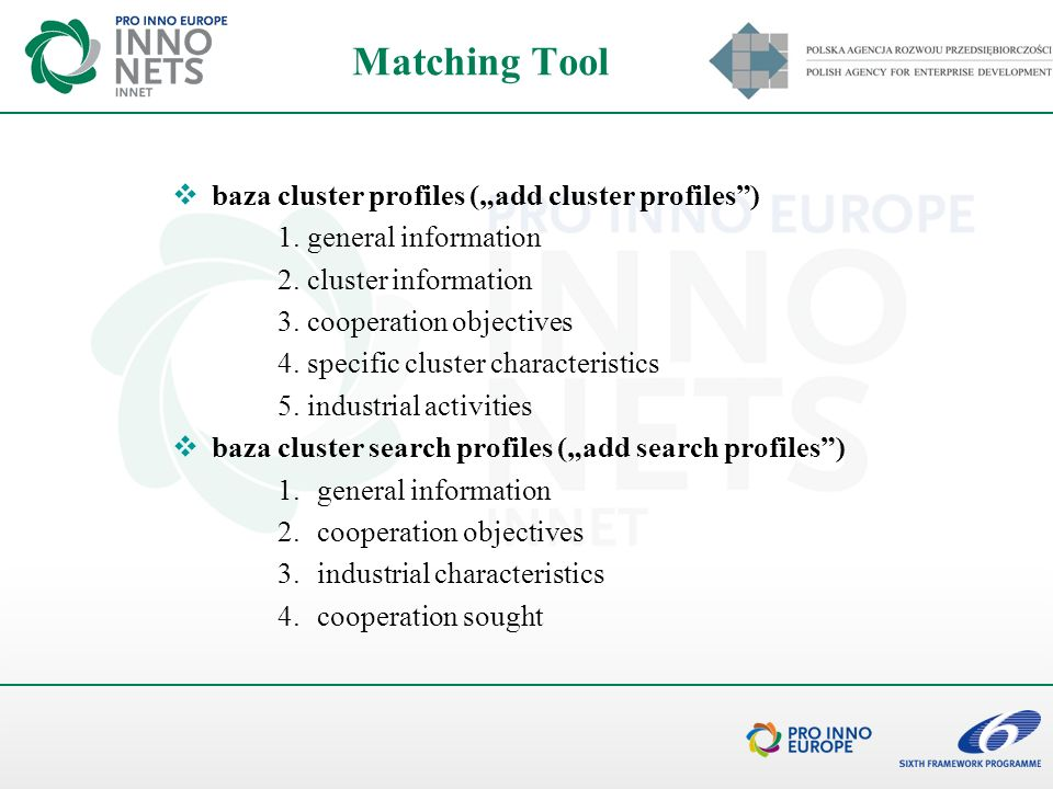 "Matching Tool baza cluster profiles (""add cluster profiles )"