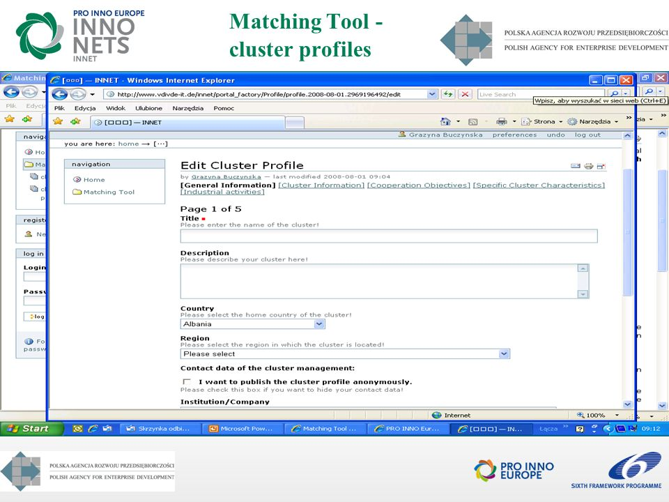 Matching Tool - cluster profiles